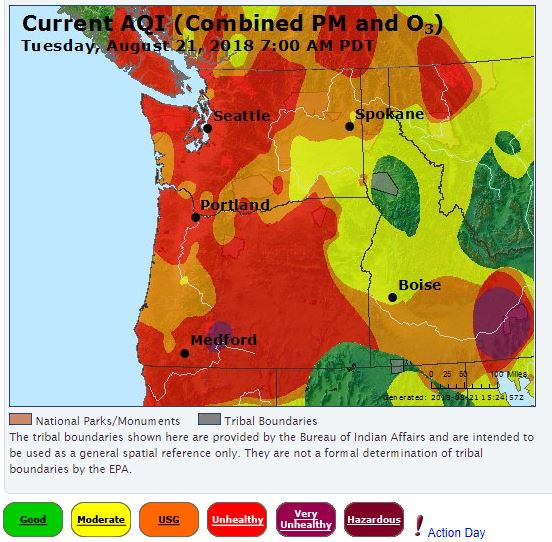 August 21-22 Notice: Unhealthy Air Quality